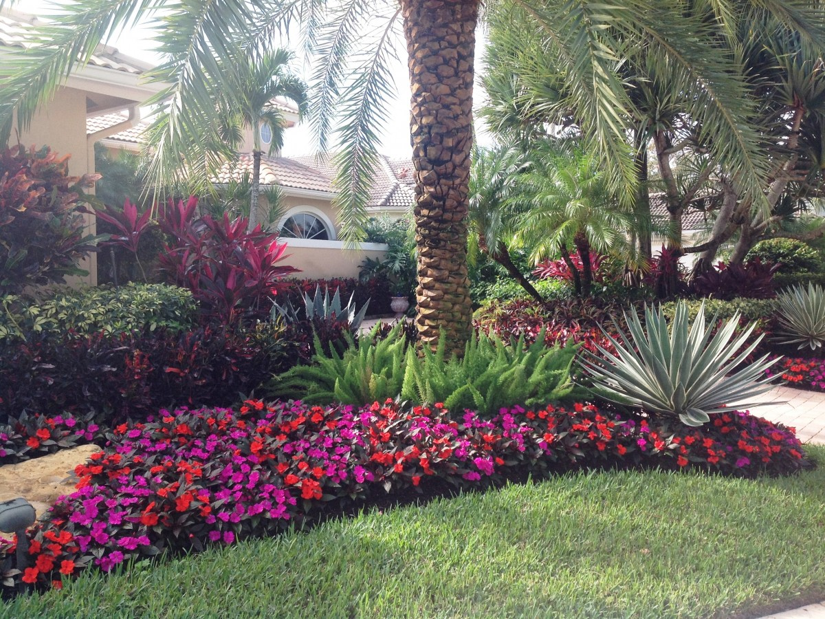 New Guinea Impatiens accent the Foxtail Ferns and Agave.