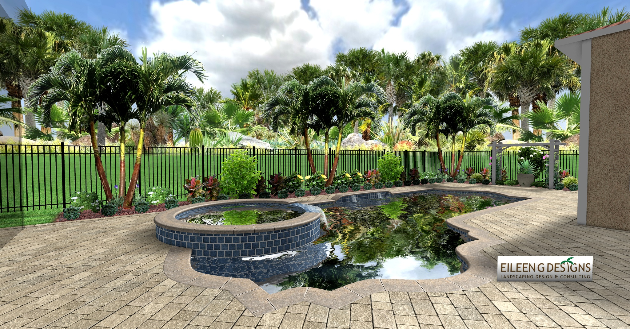 Tropical landscaping and paver deck for small pool area for Deck landscape design