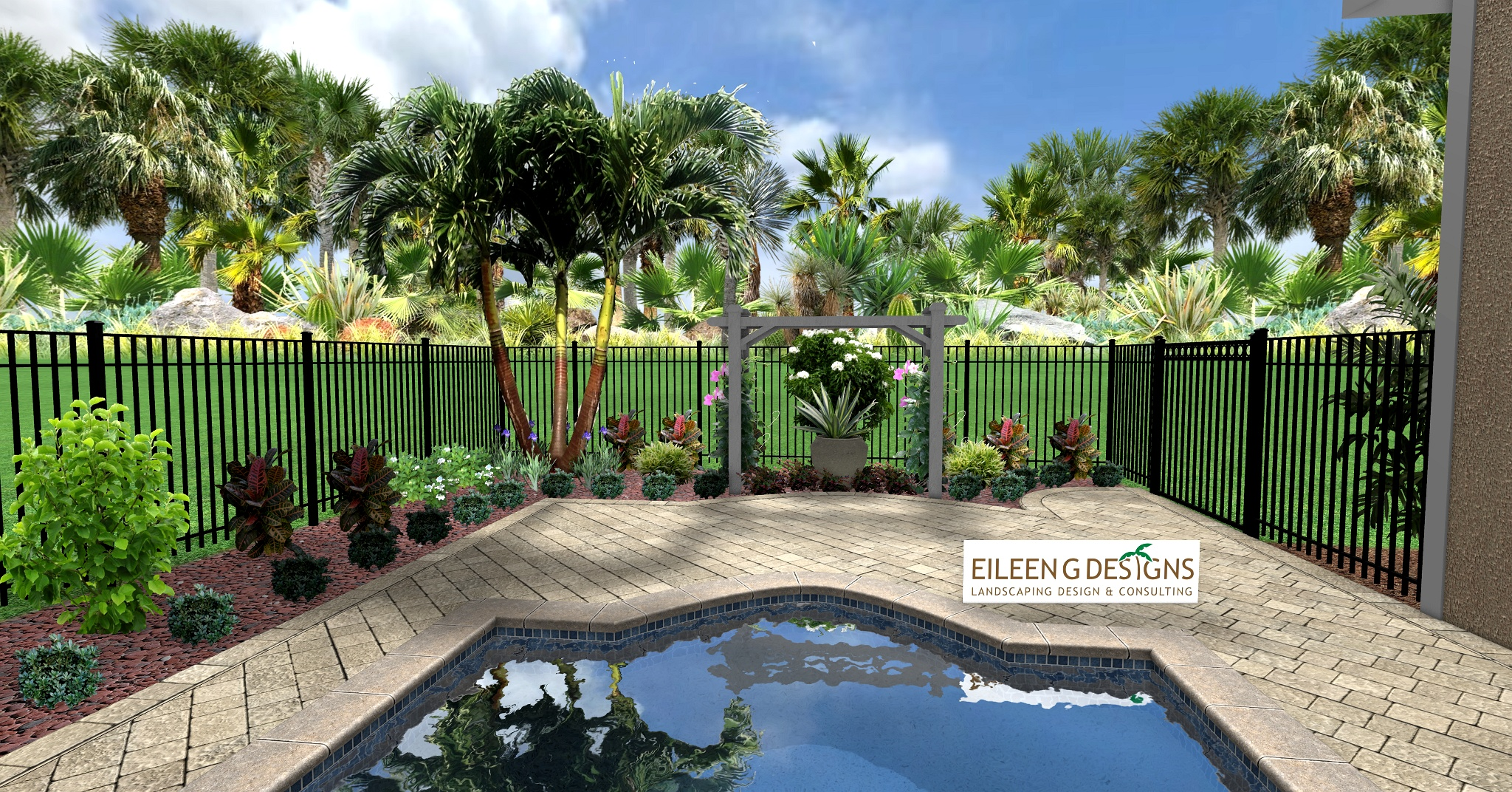 Tropical landscaping and paver deck for small pool area for Landscape design for pool areas
