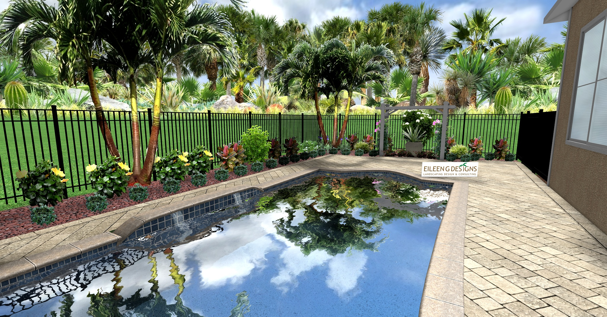 Tropical landscaping and paver deck for small pool area for Pool landscape design ideas