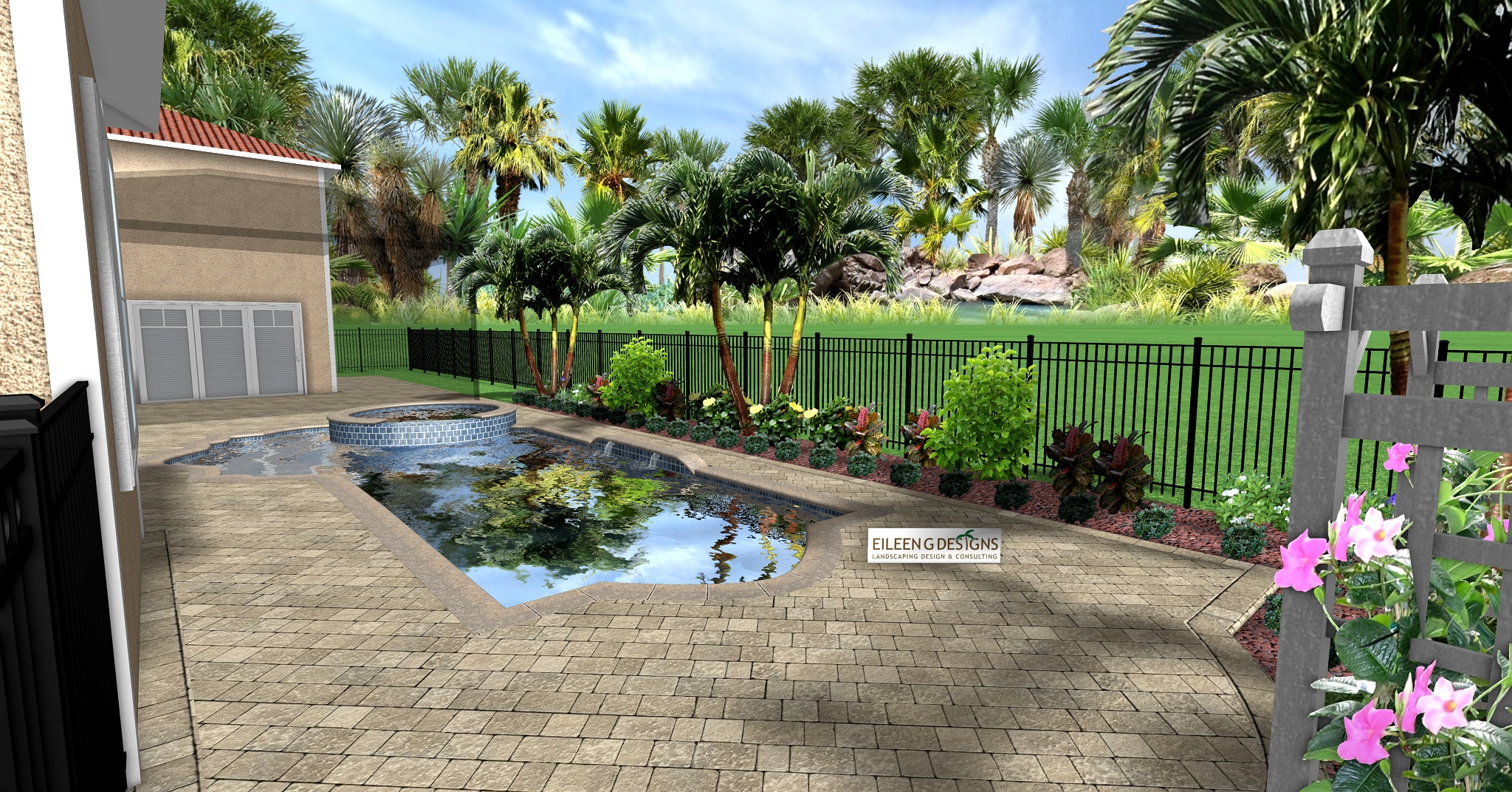 Tropical landscaping and paver deck for small pool area for New design landscaping
